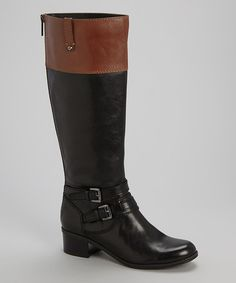 Love this Black & Brown Cavendish Wide-Calf Leather Boot by Bandolino on #zulily! #zulilyfinds