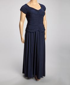 Take a look at this Navy Ruched Drop-Waist Dress - Plus by R&M Richards on #zulily today!