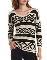 Tribal Pattern Tunic Sweater
