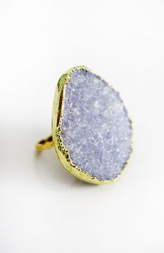 snow quartz druzy ring.