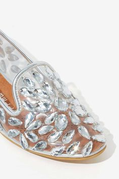 Jeweled Loafers - Silver