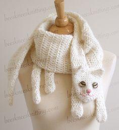 white cat crochet scarf for Alex?