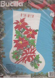 Bucilla Poinsettias 18 Inch Diagonal Stamped Cross Stitch Stocking  83135 #Bucilla