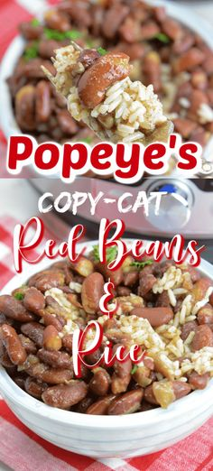 Instant Pot Popeye's Copy Cat Red Beans and Rice is bursting with flavor! Creamy, flavorful, and the right amount of Cajun spice to kick it up a notch. Instant Pot Popeye's Copy Cat Red Beans and Rice - Instant Pot Popeye's Copy Cat Red Beans and Rice Easy Rice Recipes, Cajun Recipes, Bean Recipes, Cooking Recipes, Healthy Recipes, Copycat Recipes, Kid Cooking, Popeyes Red Beans And Rice Recipe, Red Bean And Rice Recipe