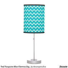 Teal Turquoise Blue Chevron Zigzag Pattern Desk Lamp
