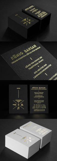Black And Gold Foil Business Card Design Fit For A King