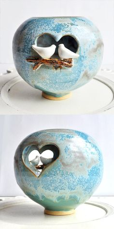 love birds luminary from Lee Wolfe Pottery
