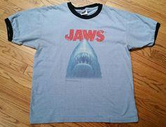 Jaws Movie T-Shirt Ringer Shark Tee Men's Large Universal Studios vintage blue #ThunderCreek #GraphicTee