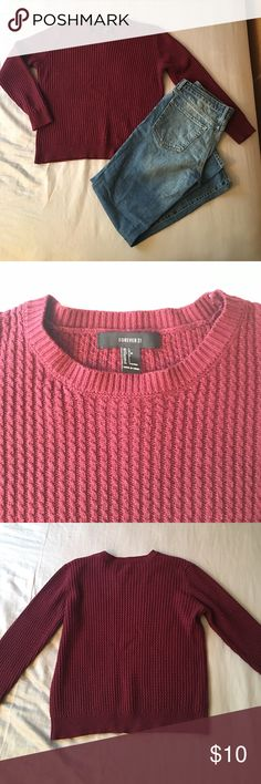 Maroon cord knit sweater Perfect condition, looks beautiful over a button up. Looking to sell fast so make me an offer. Forever 21 Sweaters