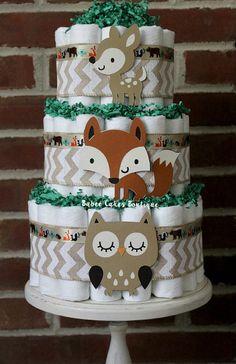 3 Tier Woodland Animal Diaper Cake Boys by BabeeCakesBoutique