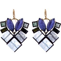 Nak Armstrong Purple Gemstone Mosaic Drop Earrings (3 085 AUD) ❤ liked on Polyvore featuring jewelry, earrings, geometric jewelry, purple gem earrings, purple drop earrings, purple jewelry and oxidized jewelry