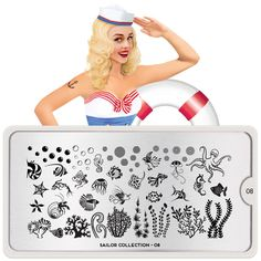 This stamping plate has a variety of stencils of under the sea creatures such as octopus, seahorse, jelly fish, puffer fish, starfish, including coral, bubbles, and more to stamp your nails with.