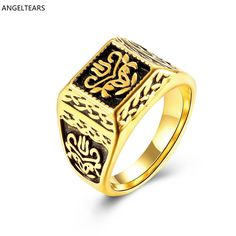 Hot Sales 316L Stainless Steel Golden Square Finger Rings Fashion Men's Jewelry Size 9 # 10 # 11 # Designer anel feminino #Affiliate