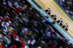 Laura Trott, Elinor Barker, Katie Archibald and Joanna Rowsell of Great Britain compete in the women's team pursuit qualifying round during the UCI Track Cycling World Championships at the Vélodrome National in Paris.