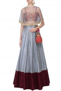 Powder Blue and Pomegranate Color Blocked Lehenga Set With Bustier and Cape