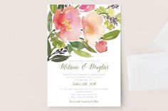 """Watercolor Floral"" - Floral & Botanical Wedding Invitations in Olive by Yao Cheng."