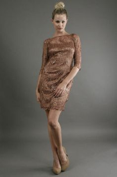 Kay Unger Sleeve Lace Dress in Copper Lace Overlay Dress, Lace Dress With Sleeves, Sequin Dress, Kay Unger, Fashion Dresses, Feminine, Formal Dresses, Lady, Copper