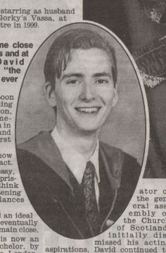 David Tennant's high school picture. He looks like he is wearing a harry potter robe