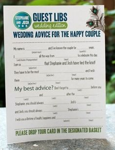 love...Advice for the Bride and Groom, but would have to modify a bit...