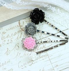 Floral Hair Pins Bobby Pin Set Flower Hair by IngridsCreations, $12.50