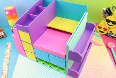 Diy Storage Projects, Desk Organization Diy, Diy Crafts Hacks, Diy Projects To Try, Projects For Kids, Diy For Kids, Easy Paper Crafts, Cardboard Crafts, Fun Crafts