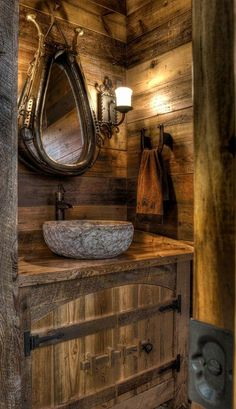 Marvelous Beautiful rustic cabin powder room – Land's End Development – Get a load of mirror. The post Beautiful rustic cabin powder room – Land's End Development – Get a load of m .