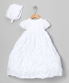 Another great find on #zulily! White Diamond Pick-Up Dress & Bonnet - Infant by Lauren Madison #zulilyfinds