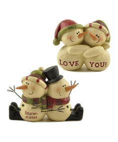 Look what I found on #zulily! 'Love You' & 'Snow-mates' Snowman Figurine Set #zulilyfinds