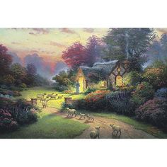 This is an allegory in paint, an image of the Lord returning to call in His faithful, a reminder that Jesus is the Good Shepherd.  His house is an utterly comfortable and secure cottage, radiant with light.  The air is luminous with sunset, the sound of His voice thrilling as He calls His sheep into a verdant meadow.    -Thomas Kinkade