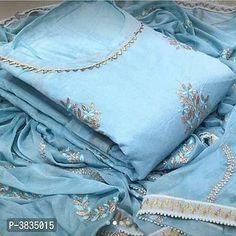 Cotton Saree, Cotton Dresses, Fancy Dress Material, Stylish Dress Designs, Indian Designer Suits, Kurti Designs Party Wear, Lining Fabric, Blue Fabric, Trendy Fashion