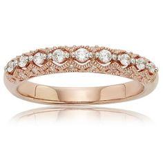 Antique Design 14K Pink Gold Diamond Anniversary Band ¼ ct. T.W.