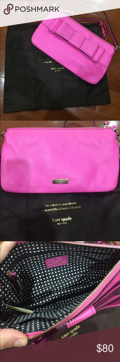 Kate Spade purse Hot pink cate Spade small cross body. Has a large bow on the front. kate spade Bags Crossbody Bags