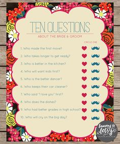 Fiesta Floral Ten Questions Bridal Shower & Wedding Game by HTBHandmade on Etsy https://www.etsy.com/listing/229360143/fiesta-floral-ten-questions-bridal