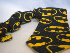 Batman tie mens cotton neck tie yellow black batman by TheWoolFish, $36.00