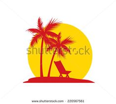 Sunset on the Beach - Shutterstock Premier Palm Tree Clip Art, Palm Tree Drawing, Palm Tree Sunset, Palm Trees, Beach Logo, Resort Logo, Family Tattoos, Coastal Art, Summer Fun