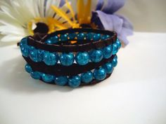 Starlight Cuff-  REAL and Genuine Leather Suede Wrap Bracelet with Imported Crackle Glass Beads - By Leela Raven via Etsy