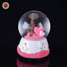 Paris Snow Globe Eiffel Tower Music Box /w Pink Heart Best Wedding LOVE Gift
