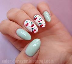cherries and mint nail art bmodish