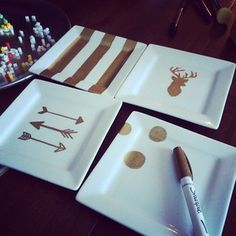ceramic + sharpies = simple DIY gifts. Dollar store?