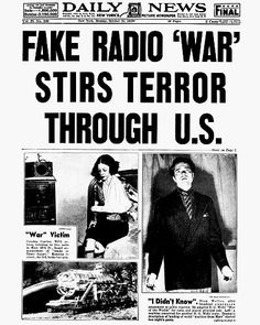 """Orson Welles' radio broadcast of """"War of the Worlds"""" stirs terror through US [October 31, 1938]"""