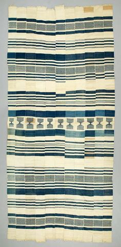 Africa | blanket from the Sherbro people of Sierra Leone | ca. 20th century | Cotton; Strip woven; weft-faced; supplementary weft; hand-sewn