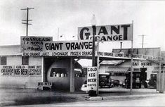Giant Orange, roadside stand, along old Hwy 99, Tracy, CA.  Too bad they had to move it away.  I got a cheeseburger here once -- best I ever tasted. :)