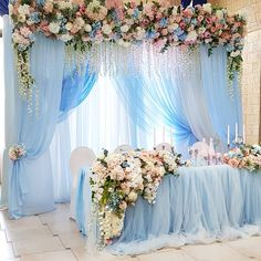 light blue and blush pink indoor sweetheart wedding table 20 Light Blue and Blush Pink Wedding Colors for Spring Summer 2020 Blush Pink Wedding Cake, Pink Wedding Colors, Blush Pink Weddings, Quinceanera Centerpieces, Tall Wedding Centerpieces, Quince Decorations, Wedding Decorations, Wedding Scene, Wedding Church