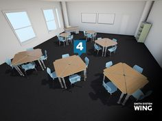 Smith System Wing Desk Configurations - Fours