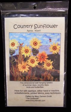 Country Sunflowers Wall hanging quilt pattern 3 dimensional Quiltsmith #TheQuiltsmith