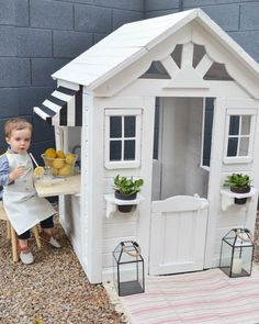 From Drab to Fab: A Playhouse Renovation You've Got To See Outdoor Playhouse DIY Renovation Cedar Playhouse, Outside Playhouse, Backyard Playhouse, Build A Playhouse, Playhouse Ideas, Painted Playhouse, Kids Outdoor Playhouses, Wooden Outdoor Playhouse, Childrens Playhouse
