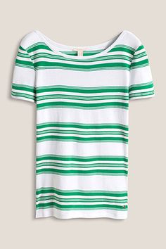 Size information:  -Centre back length approx. 62 cm (in size L, can vary according to size)  Details:  -The soft, dense jersey fabric composed of pure cotton gives this fashionably striped T-shirt its elegant look and high degree of comfort. -The feminine bateau neckline is edged with a narrow trim. -The T-shirt is slightly fitted and has short, side hem slits.