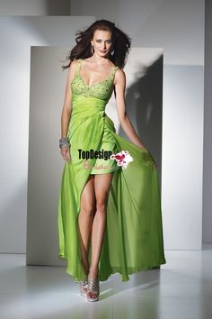 Lime green 2015 new Wholesale vestido de festa free shipping beaded chiffon long prom dress with straps Style 6808