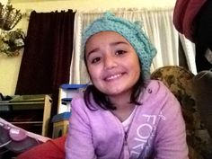 Crochet teal hat