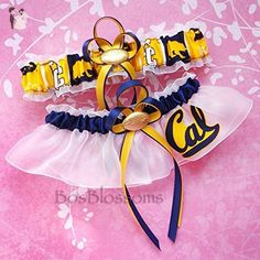 Customizable - UC Berkeley California Golden Bears fabric handmade into bridal prom white organza wedding garter set with your choice charms of footballs basketballs baseballs hearts or rhinestones - Bridal garters (*Amazon Partner-Link)